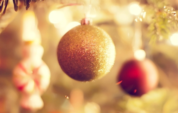 Picture decoration, balls, new year, focus, sparks, Christmas