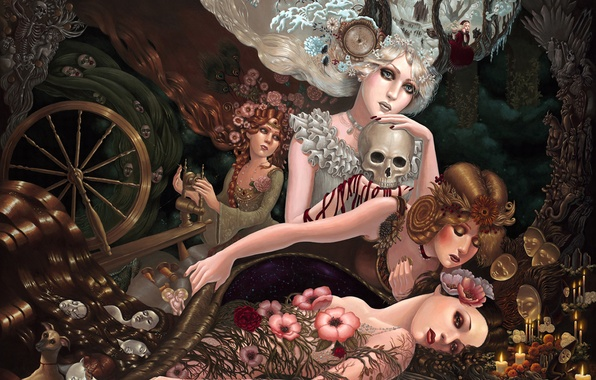 Picture girls, watch, skull, dog, four seasons, Personification, the spindle, covers