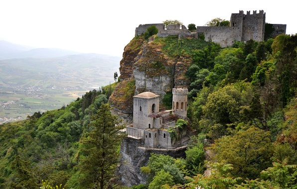 Picture the sky, trees, mountains, rock, castle, valley, Italy, Sicily, Erice