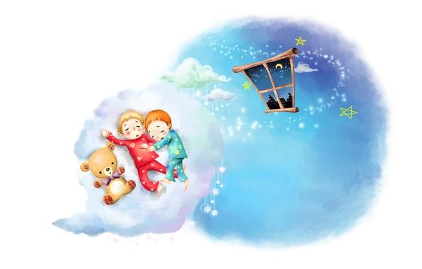 Picture clouds, childhood, figure, sleep, stars, a month, window, kids, Teddy bear, pajamas