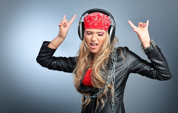 Picture girl, style, mood, headphones, jacket, blonde, chain, fingers, gesture, bandana