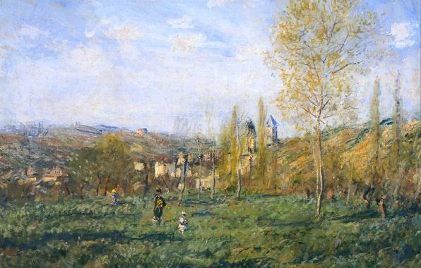Picture grass, trees, landscape, hills, picture, meadow, Claude Monet