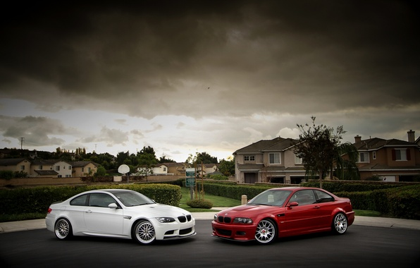 Picture white, the sky, red, clouds, bmw, BMW, home, red, white, drives, side view, shrub, e92, …