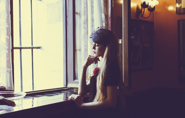 Picture girl, pose, room, window, blonde