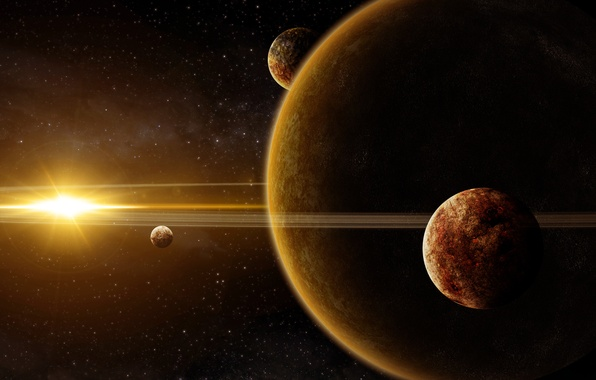 Picture space, star, planet, ring, art, giant