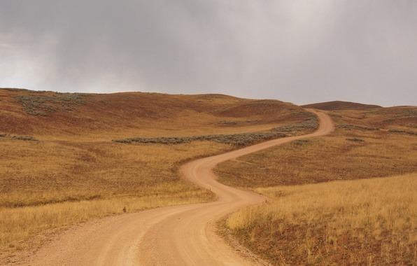 Picture road, mountains, field, storm, gray clouds
