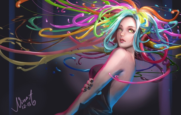 Picture look, color, girl, paint, hair, anime, art
