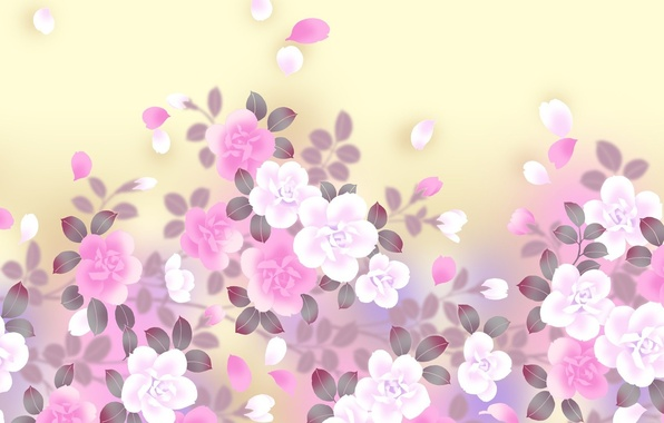 Picture flowers, background, art, gently