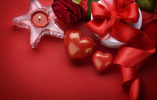 Picture gift, rose, heart, hearts, Valentine's day, Valentine's day, candle, valentines day