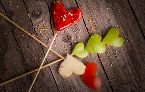 Picture red, green, background, widescreen, Wallpaper, mood, apples, Apple, hearts, wallpaper, heart, widescreen, background, full screen, …