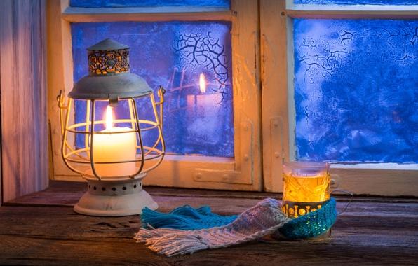 Picture winter, glass, comfort, reflection, heat, patterns, lamp, candle, blur, Daisy, window, lantern, sill, winter, bokeh, …