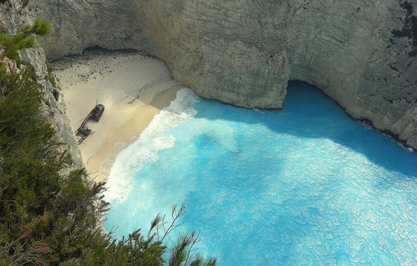 Picture sand, sea, beach, open, view, height, Greece