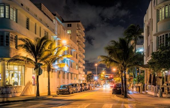 Picture lights, street, Miami, the evening, FL, Miami, florida, vice city