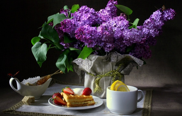 Picture butterfly, flowers, the dark background, lemon, Breakfast, strawberry, Cup, sugar, still life, waffles, lilac, napkin