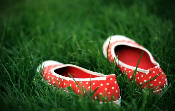 Picture green, shoes, Grass, polka dot
