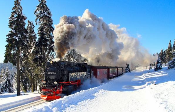 Picture winter, the engine, railroad