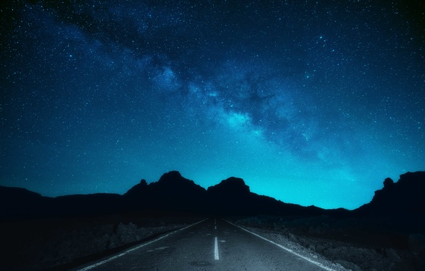 Picture road, space, stars, silhouette, The Milky Way, Buttes