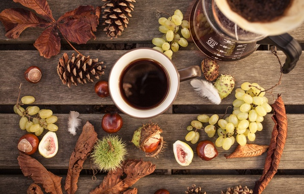 Picture autumn, leaves, style, coffee, grapes, mug, still life, bumps, chestnuts, coffee pot