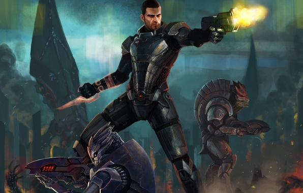 Picture weapons, war, art, soldiers, devastation, armor, rifle, art, Range, Mass Effect 3, Commander Shepard, Spectre, …