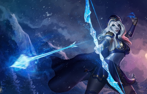 Photo Wallpaper Bow League Of Legends Arrow Girl Archer Ashe