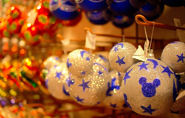 Picture holiday, balls, Shine, shop, Christmas decorations, celebration, Mickey mouse