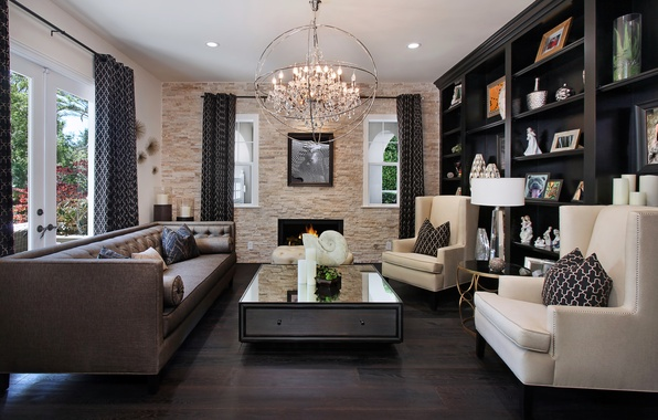 Picture design, photo, table, sofa, interior, chair, chandelier, living room