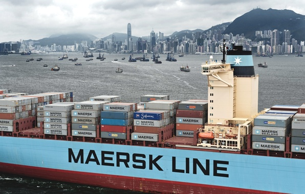Picture Hong Kong, The city, Court, The ship, A lot, A container ship, Overcast, Maersk, Maersk ...