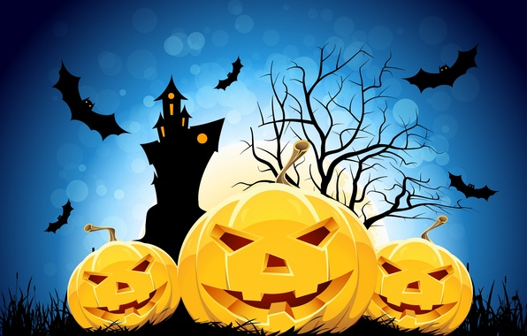 Picture smile, castle, tree, holiday, the moon, Halloween, mouse, horror stories, Jolly pumpkin, holiday horror