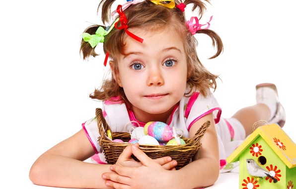 Picture look, children, photo, mood, eggs, Easter, girl