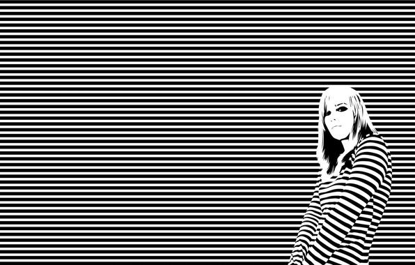 Picture girl, white, black, lines, horizon