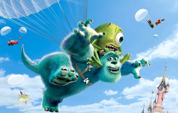Picture collage, cartoon, cars, monsters, Disney, Princess, rat, Ratatouille, Walt Disney, Monsters University, Inc., Monsters Inc., …