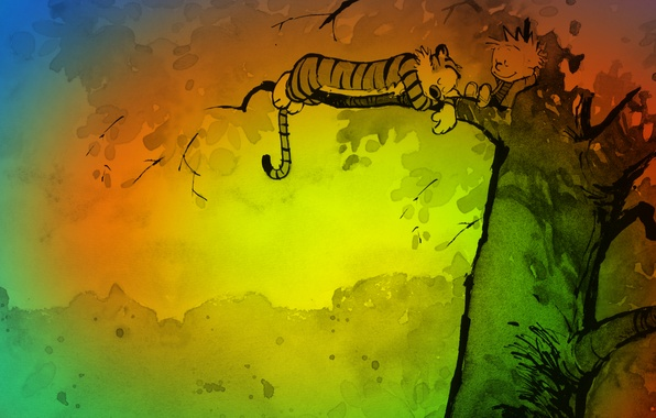 Picture color, tiger, tree, stay, figure, cartoon, sleep, boy, art, Art, Calvin and Hobbes