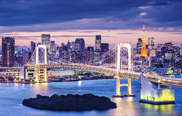Picture lights, lights, Japan, Tokyo, Japan, night city, bridge, night, harbour, cityscape, Tokyo Bay