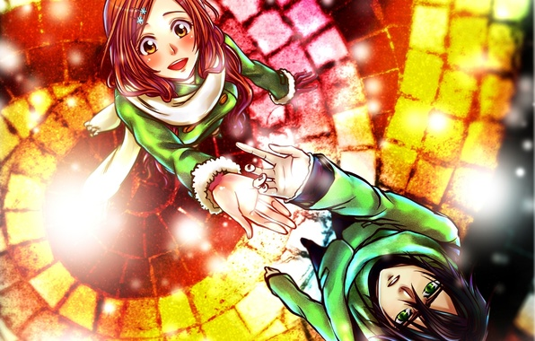 Picture girl, snow, scarf, art, guy, flowers, bleach, Inoue Orihime, Ulquiorra Schiffer, clips, Billiefeng