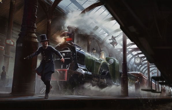 Picture Smoke, The engine, Watch, Light, Station, Chase, Assassins Creed, Art, Cars, Assassin's Creed, Syndicate, Syndicate, …
