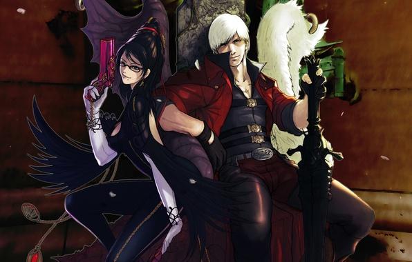 Picture game, weapons, guns, swords, games, Dante, Dante, guns & swords, Bayonetta, Your yukikase, fanart, Bayonetta …