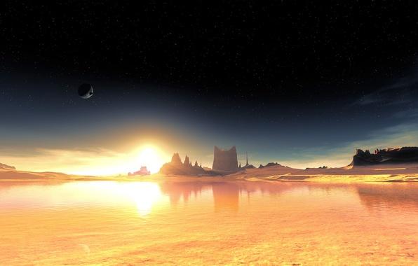 Picture the sky, stars, alien planet, fantastic landscape, terraspace