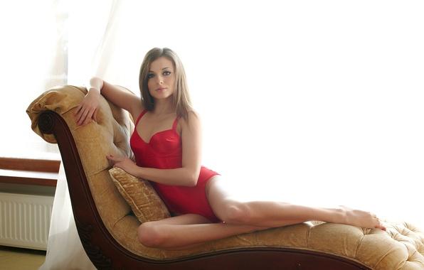 Picture look, girl, red, sofa, feet, chair, brown hair, legs, beautiful, body, giulia