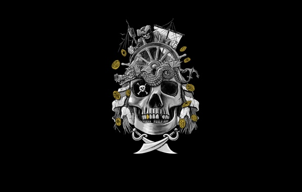 Picture gold, ship, skull, skeleton, pirates, swords
