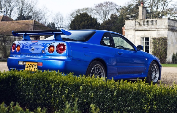 Picture blue, house, tree, Nissan, house, the bushes, skyline, Nissan, blue, gtr, tree, r34, gtr, back, ...