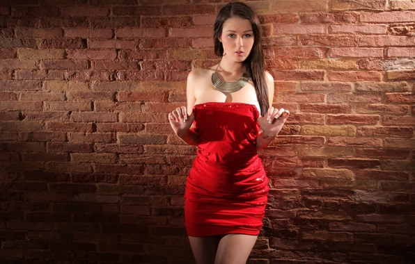 Picture lights, wall, sexy, figure, look, red dress, Corinne