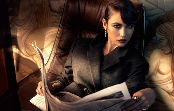 Picture look, model, chair, makeup, actress, brunette, hairstyle, photographer, newspaper, Olga Kurylenko, Olga Kurylenko, journal, coat, …