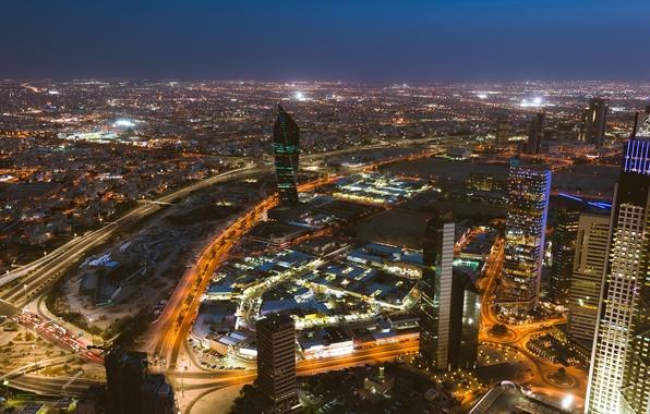 Photo wallpaper lighting, skyscrapers, the city, lights, capital, Kuwait, night, Kuwait City, Kuwait, Kuwait, building