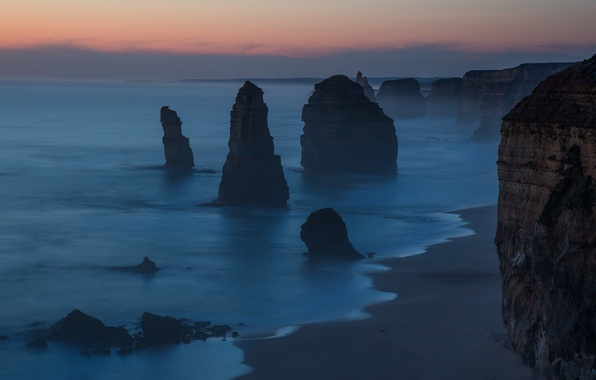 Picture beach, rocks, the evening, Australia, twilight, Australia, Victoria, Port Campbell National Park, The Twelve Apostles