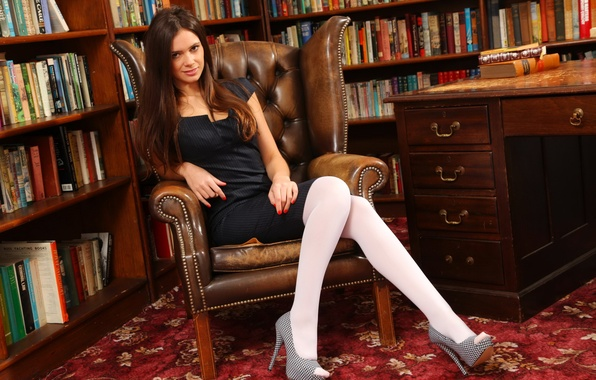 Picture ass, chest, look, girl, sexy, pose, table, model, books, the situation, chair, figure, brunette, lips, …