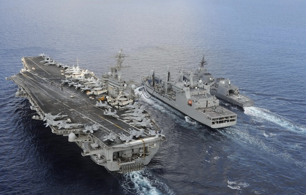 Picture aircraft carrier, war fighters, USS Theodore Roosevelt