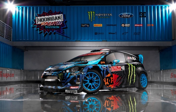 Picture ford, wrc, fiesta, Ken Block, 2013, Monster energi