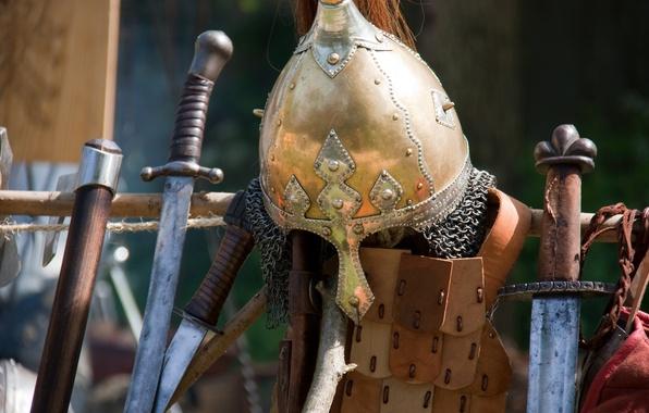 Picture weapons, armor, helmet, swords