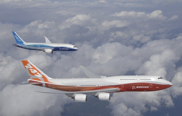 Picture The sky, Clouds, The plane, Aircraft, Flight, 787, Boeing, Height, Boeing, 747, Intercontinental, Dreamliner