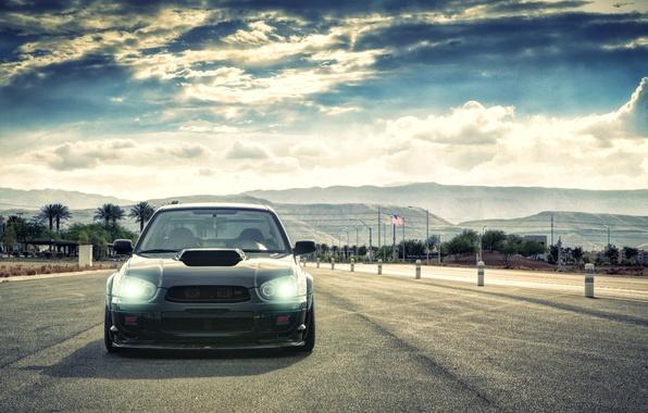 Picture the sky, clouds, Subaru, Impreza, black, WRX, black, Subaru, Impreza, STi